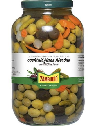ACEITUNAS COCKTAIL FINAS HIERBAS GALON 2.25 KG ZAMBUDIO